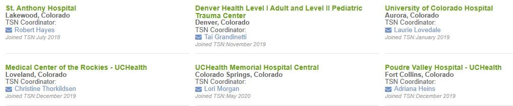 List of Colorado TNS Hospitals